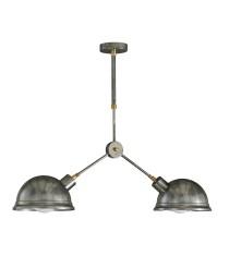 Lámpara colgante acabado plateado con dos luces – Emus – Artesanía Joalpa