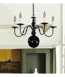 Lámpara de techo de metal con acabado negro perla y 5 brazos – Selin – Artesanía Joalpa