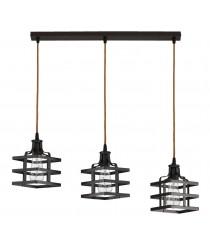 Lámpara colgante estilo industrial con 3 pantallas marrón óxido – Canel – Artesanía Joalpa