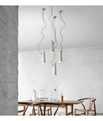 LED ceramic and wood pendant lamp in white finish 3000K - Renaud – Plussmi