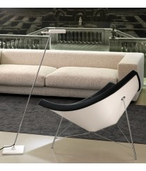 Chrome and white swivel LED floor lamp - Spock – Bover