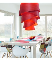 Pendant lamp with textile material chins/natural wood shade 215 cm – Audrey – IDP Lampshades