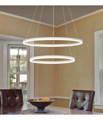 LED metal and methacrylate pendant lamp with 2 rings 3200K - Belenus - ACB Iluminación