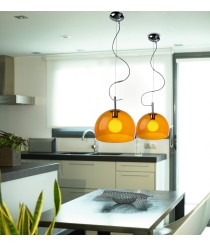 Lámpara de techo colgante con pantalla de metacrilato rojo o naranja - Iglu - Pujol Iluminación