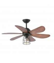 Ceiling fan with light 6 blades black walnut finish and remote control - Chicago – Faro