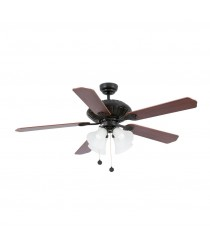Brown light ceiling fan with reversible blades and 4 tulips - Corso – Faro