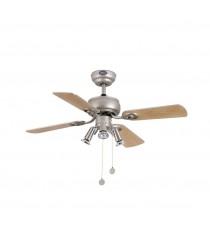 Ceiling fan with light 4 blades, champagne grey finish - Galápago – Faro