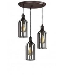 Lámpara de techo con 3 pantallas efecto jaula estilo industrial – More – Artesanía Joalpa