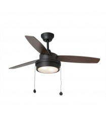 Ventilador de techo con luz negro 3 palas en nogal accionado por cadena – Komodo – Faro