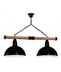 Lámpara colgante de madera y metal con 2 luces Ø 23 cm – Tosi – Artesanía Joalpa