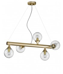 Lámpara colgante de metal oro con 5 luces – Bolle – Artesanía Joalpa