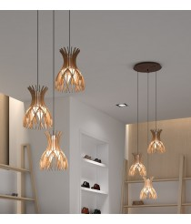 Pendant lamp with standard rosette and 3, 4 or 7 lights available with 2 finishes - Domita – Bover