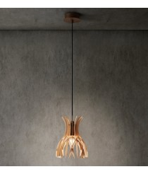 Pendant lamp made of fine natural wood slats available in brown or white matt - Domita – Bover