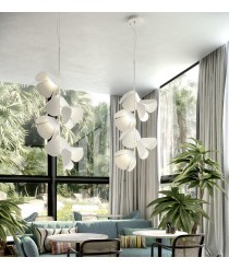 Adjustable pendant lamp with fixed structure and 3, 6 or 9 lights available with different finishes - Mod – Bover