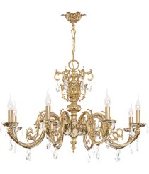 Brass pendant lamp with 8 lights and Asfour crystals with english patina finished - París - Riperlamp