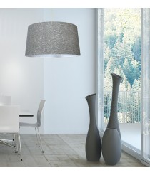 Modern pendant lamp with a textured grey-finished PVC shade – Mara – IDP Lampshades