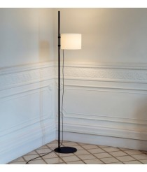 Steel floor lamp in 2 finishes with polyester lampshade