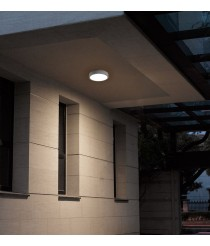 IP54 LED grey aluminum outdoor wall and ceiling light - Blera Round - Dopo - Novolux