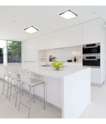Square chrome aluminium ceiling light in 3 sizes LED 3000K - Arcos - Pujol Iluminación