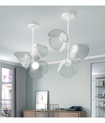 Adjustable ceiling light with fixed structure and 3, 6 or 9 lights available with different finishes - Mod – Bover