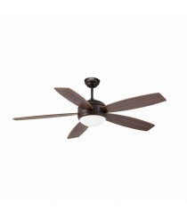 Ceiling fan with light with brown wooden blades and remote control - Vanu – Faro