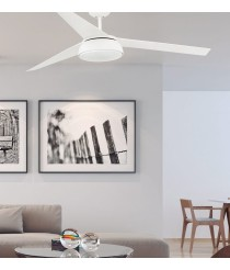 Ceiling fan with white light finish and DC motor - Vulcano - Faro