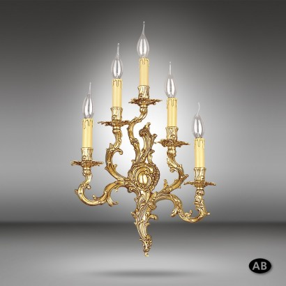 Traditional brass wall light available in 2 finishes and 5 lights - Riperlamp