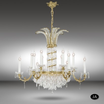 Classic pendant lamp with 12 or 18 lights with Asfour or Swarovski crystal - Samara - Riperlamp